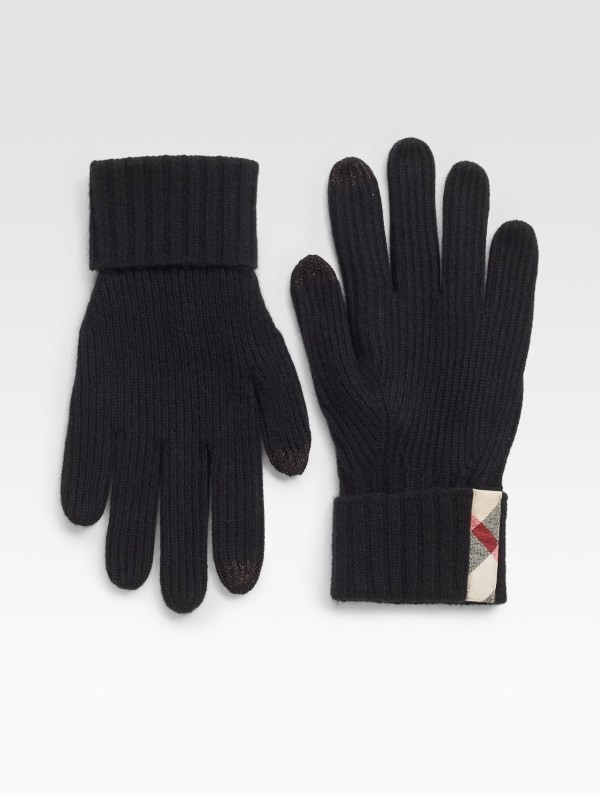 Lyst - Burberry Ribbed Cashmere Knit Gloves In Black Men