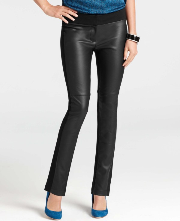 Ann Taylor Faux Leather Front Ankle Pants In Black Lyst
