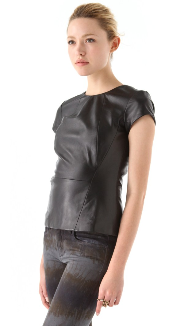 Charlotte Ronson Lambskin Leather Top In Black - Lyst