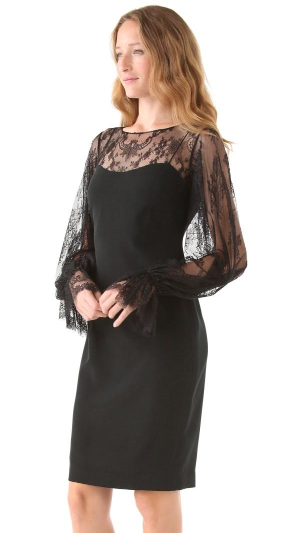 Lyst - Notte Marchesa Bateau Neck Lace Dress In Black