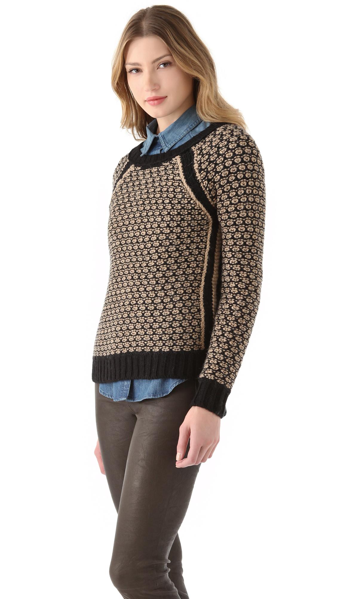 Club Monaco Jessica Sweater in Black & Camel (Black) - Lyst