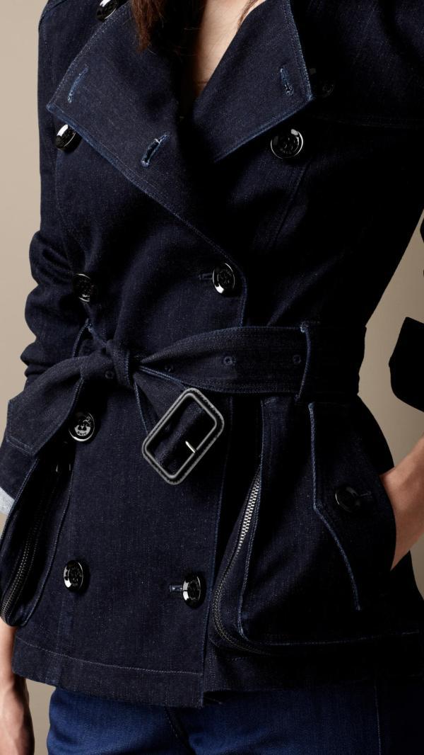6c9a09f2585 Lyst - Burberry Brit Short Indigo Denim Trench Coat In Blue