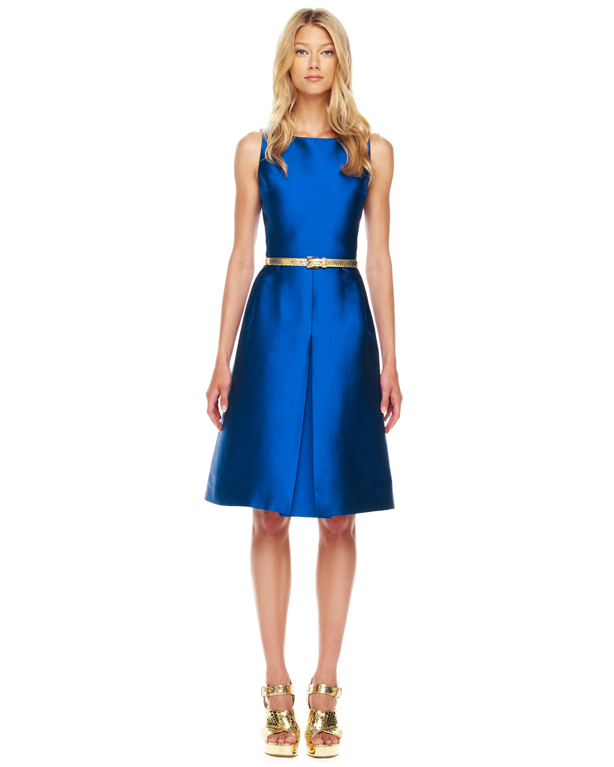 Michael Kors Aline Shantung Dress In Blue Lyst