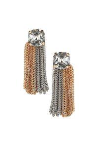 Lyst - Topshop Oversized Chain Stud Earrings in Metallic