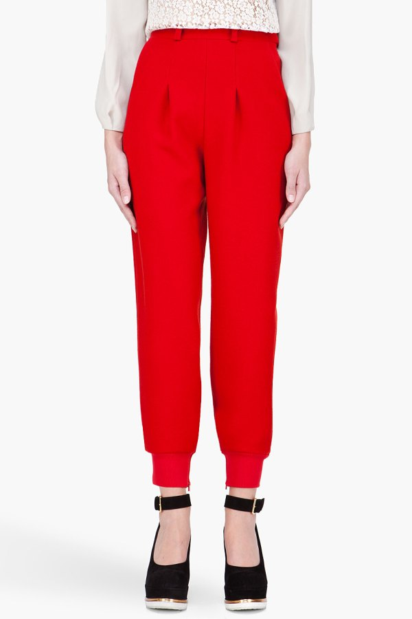 Chlo High Waisted Wool Lounge Pants In Red Lyst