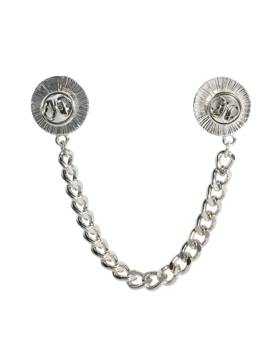 ASOS Pearl Chain Collar Tips in Cream (Metallic) - Lyst