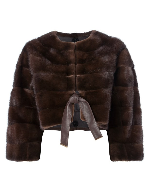 Fendi Cropped Mink Fur Coat In Brown Lyst