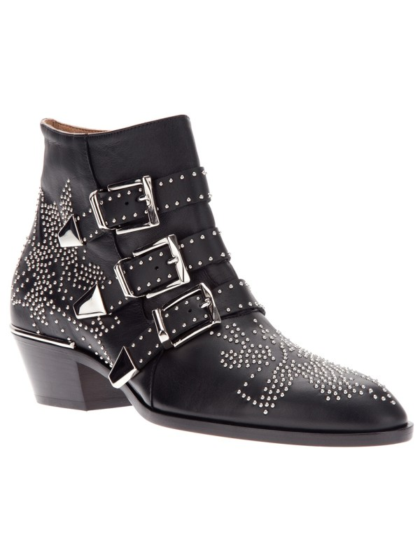 Chlo Studded Ankle Boot In Black Lyst