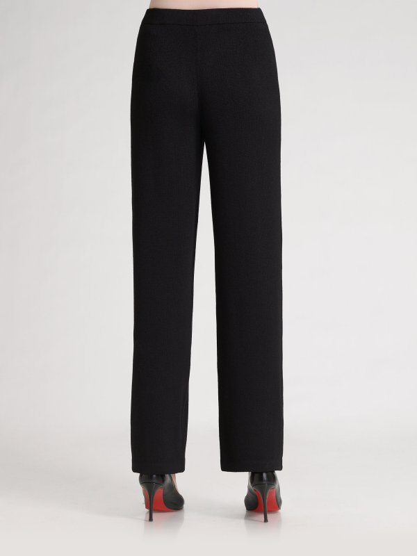St. John Caviar Collection Santana Knit Pants In Black Lyst