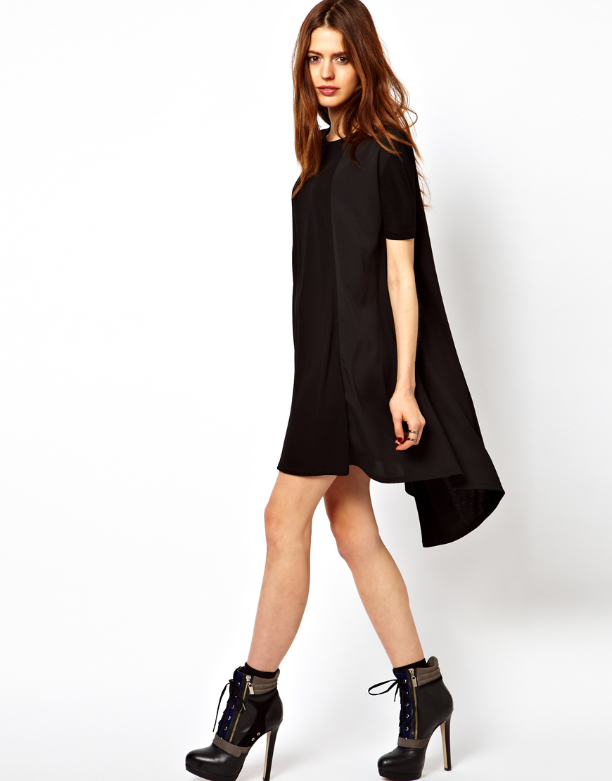 Lyst  Asos Collection Asos Swing Dress with High Low Hem in Black