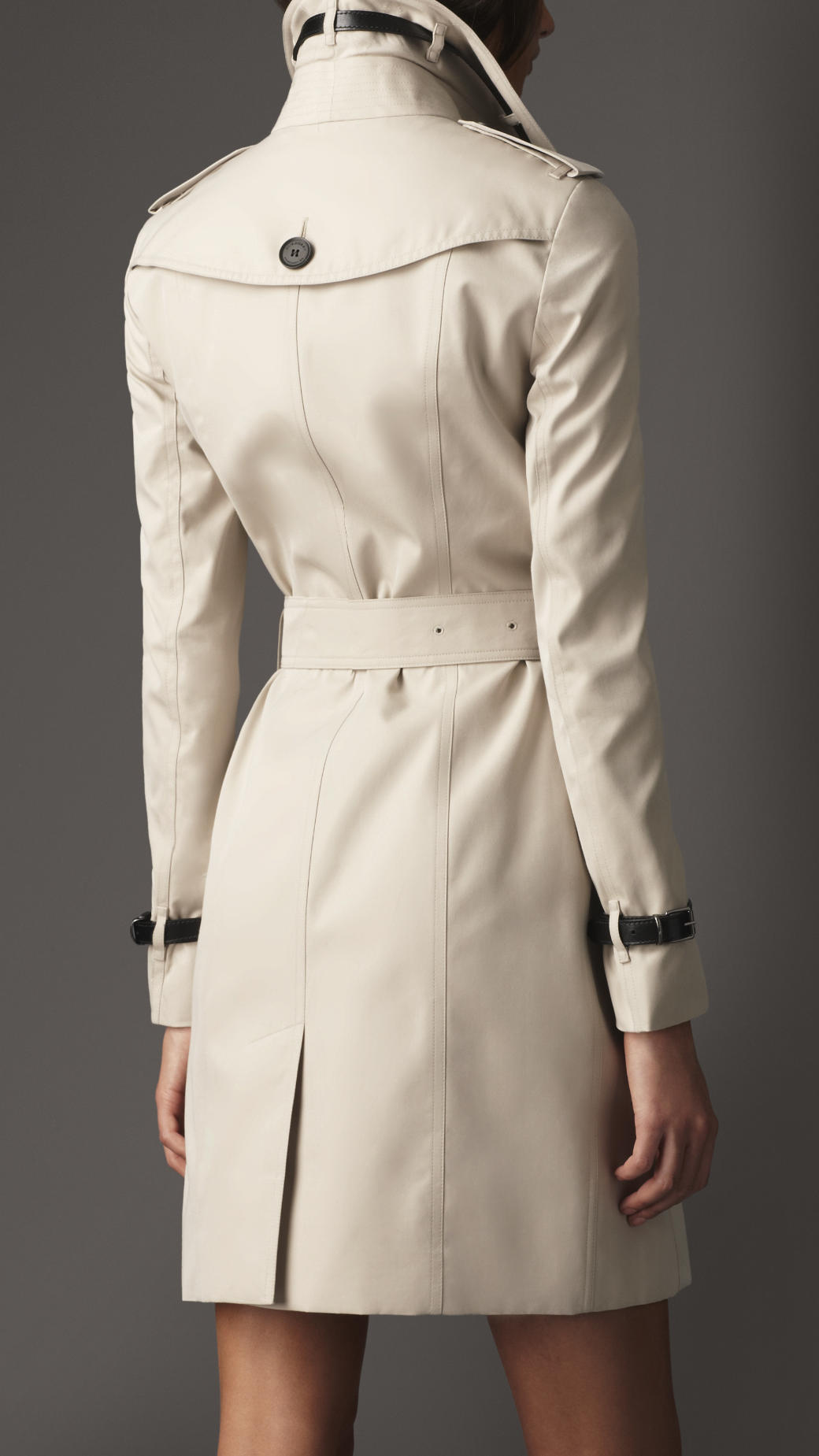 Lyst Burberry Long Slim Fit Leather Detail Trench Coat
