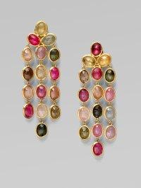 Multi Colored Earrings Pav Multicolored Diamond Pink Gold ...