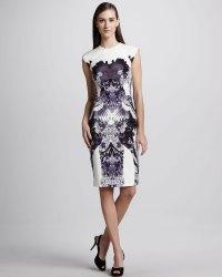 Lyst - Monique Lhuillier Craneprint Sheath Dress in White