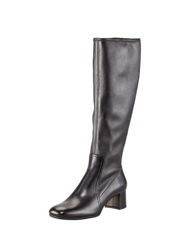 Prada Stretch Leather Square Toe Boot In Black Lyst