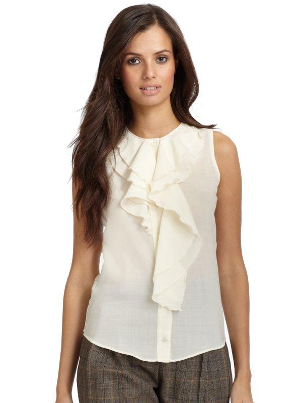 Lyst - Moschino Silk Chiffon Ruffle Blouse In White