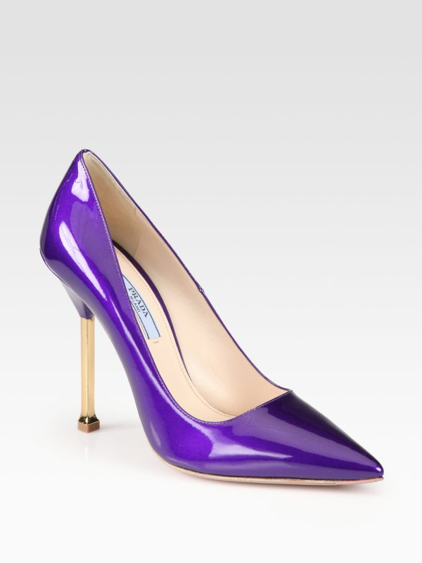 Prada Patent Leather Chrome Heel Pumps In Purple Lyst