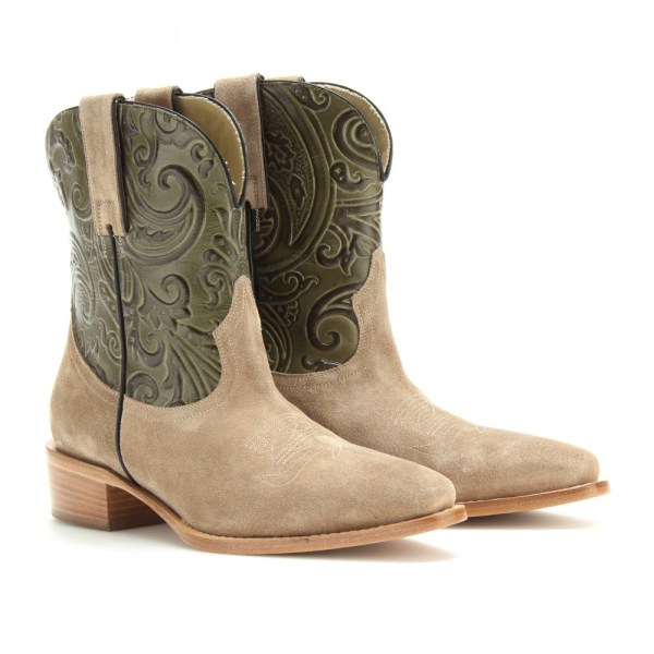 Etro West Suede And Leather Cowboy Boots In Natural - Lyst