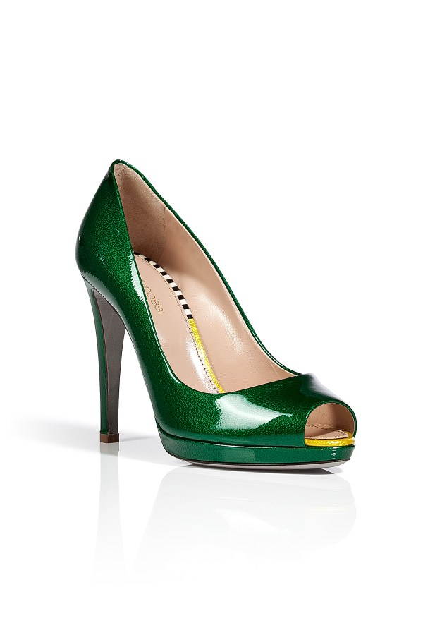 Sergio Rossi Grass Green Patent Leather Peep-toe Pumps In