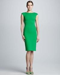 Lyst - Michael Kors Crepe Capsleeve Sheath Dress in Green