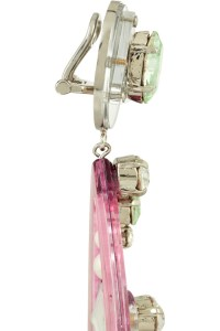 Miu Miu Swarovski Crystal and Plexiglass Clip Earrings in