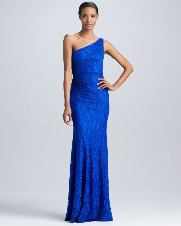 Lyst - David Meister -shoulder Lace Gown In Blue