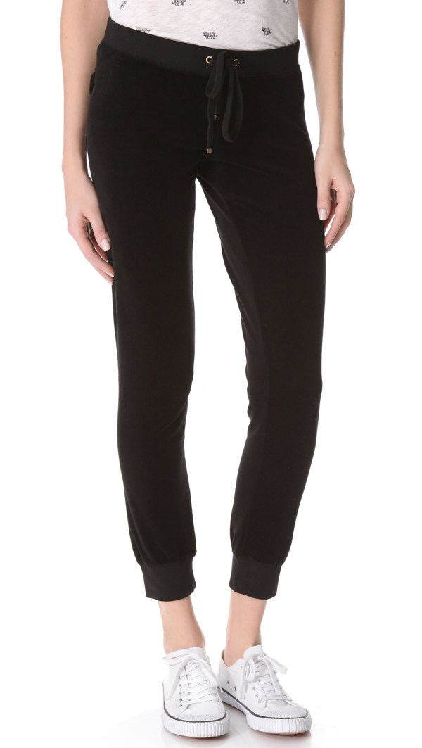 Juicy Couture Slim Velour Pants In Black Lyst