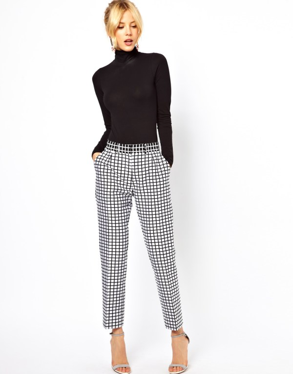 Lyst - Asos Collection Trousers In Monochrome Check White