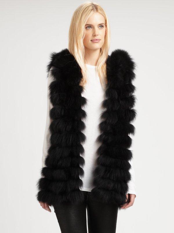 Royal Underground Hooded Fur Vest In Black Lyst