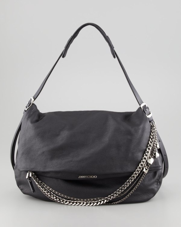 Lyst - Jimmy Choo Biker Large Hobo Bag In Black
