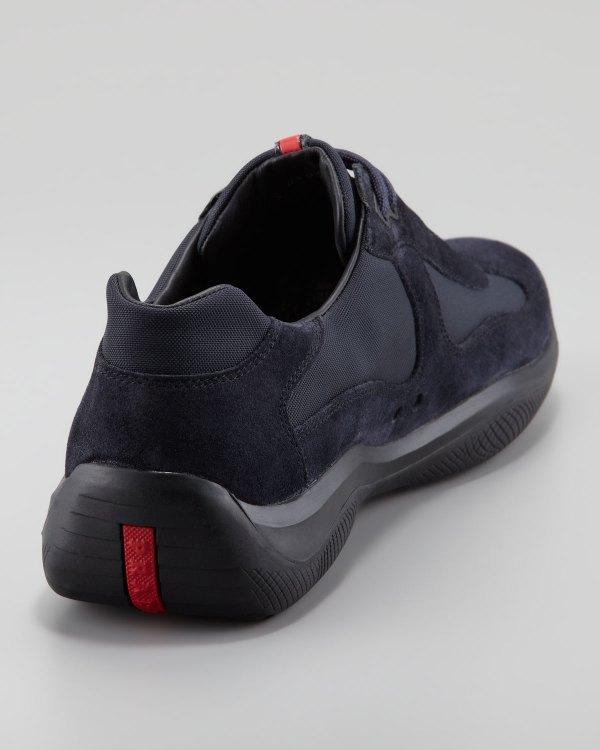 Prada Americas Cup Suede Sneaker In Black Men Lyst