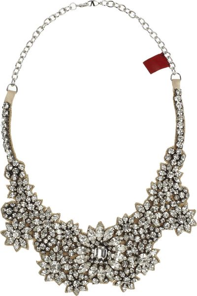 Valentino Jewel Flowers Swarovski Crystal Necklace in White (champagne) - Lyst