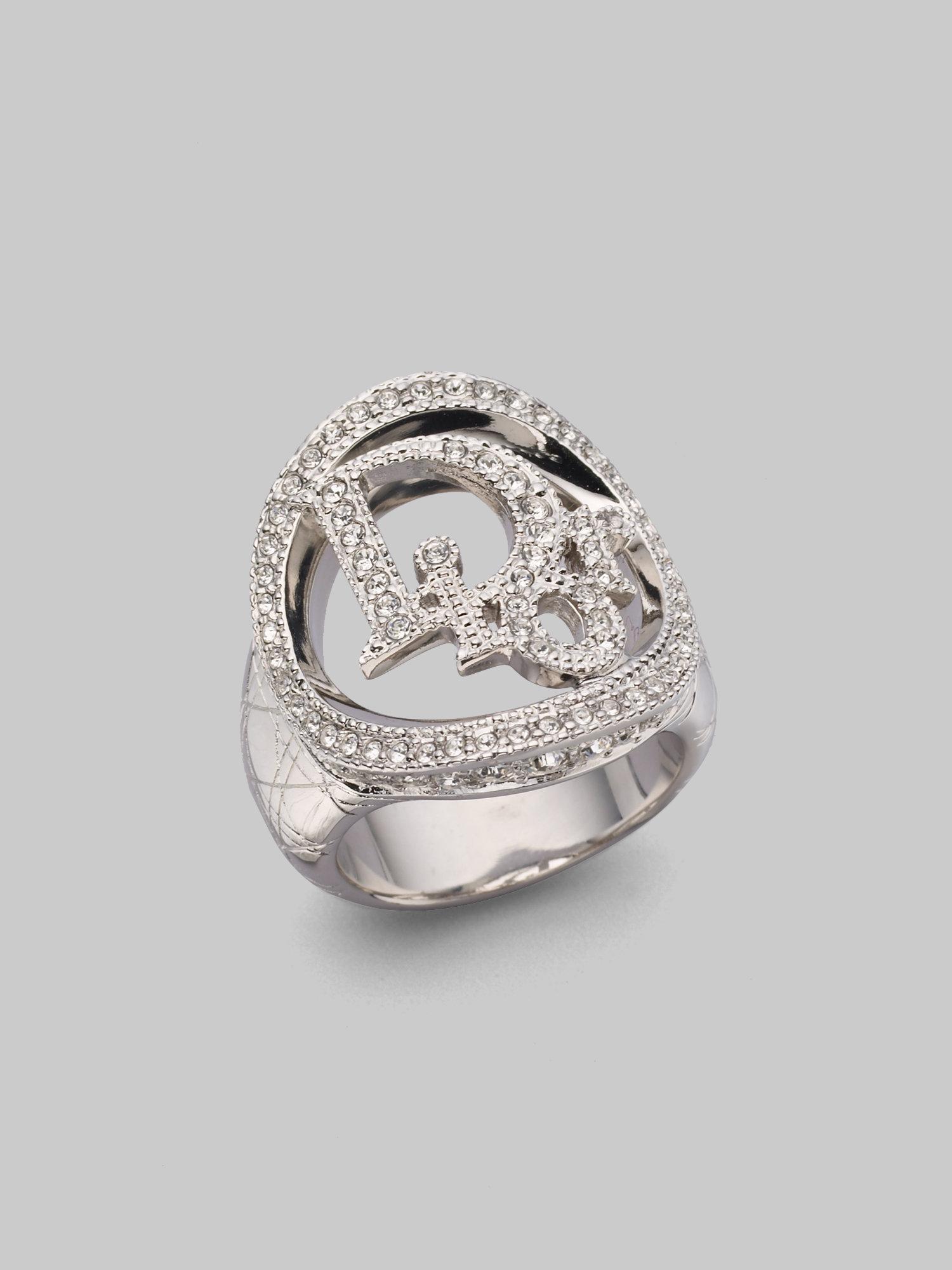 Lyst - Dior Cannage Logo Ring in Metallic