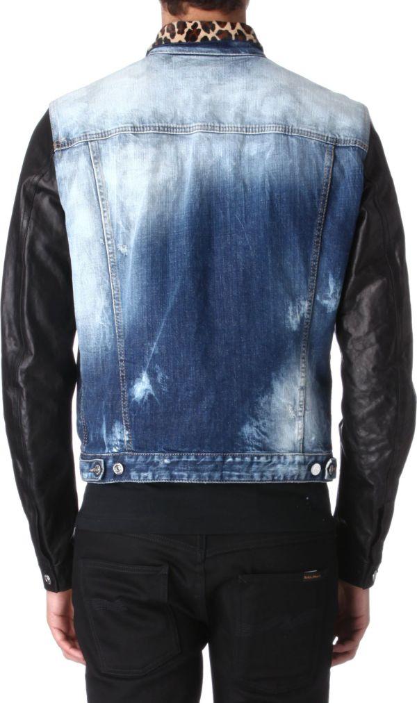 Dsquared Leopard Collar Denim Jacket In Blue Men - Lyst