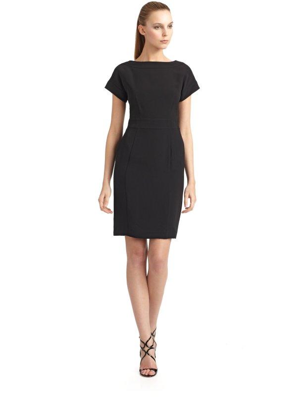 Giorgio Armani Silk Bateau Neck Dress In Black Lyst