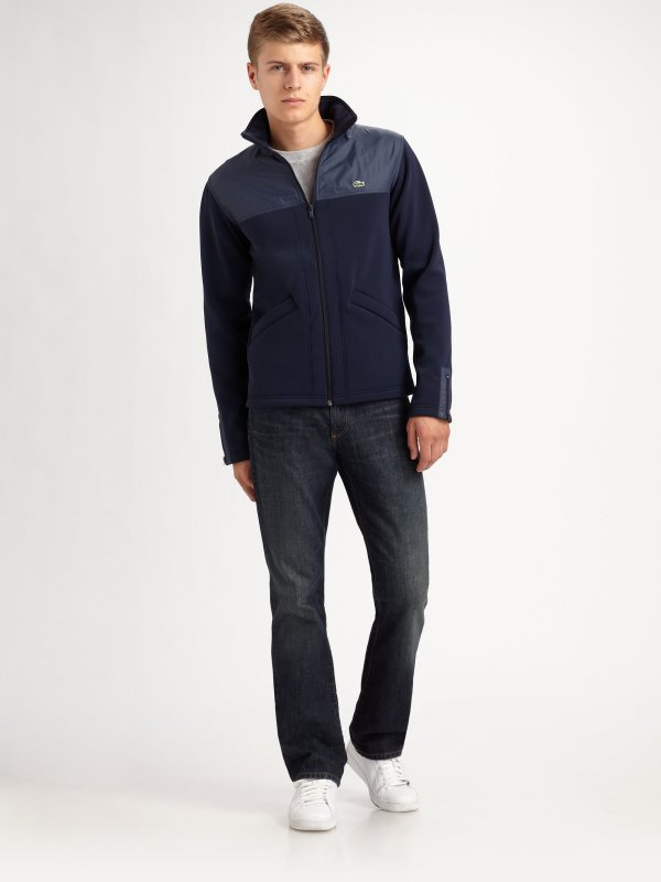 Lacoste Fleece Jacket In Blue Men - Lyst