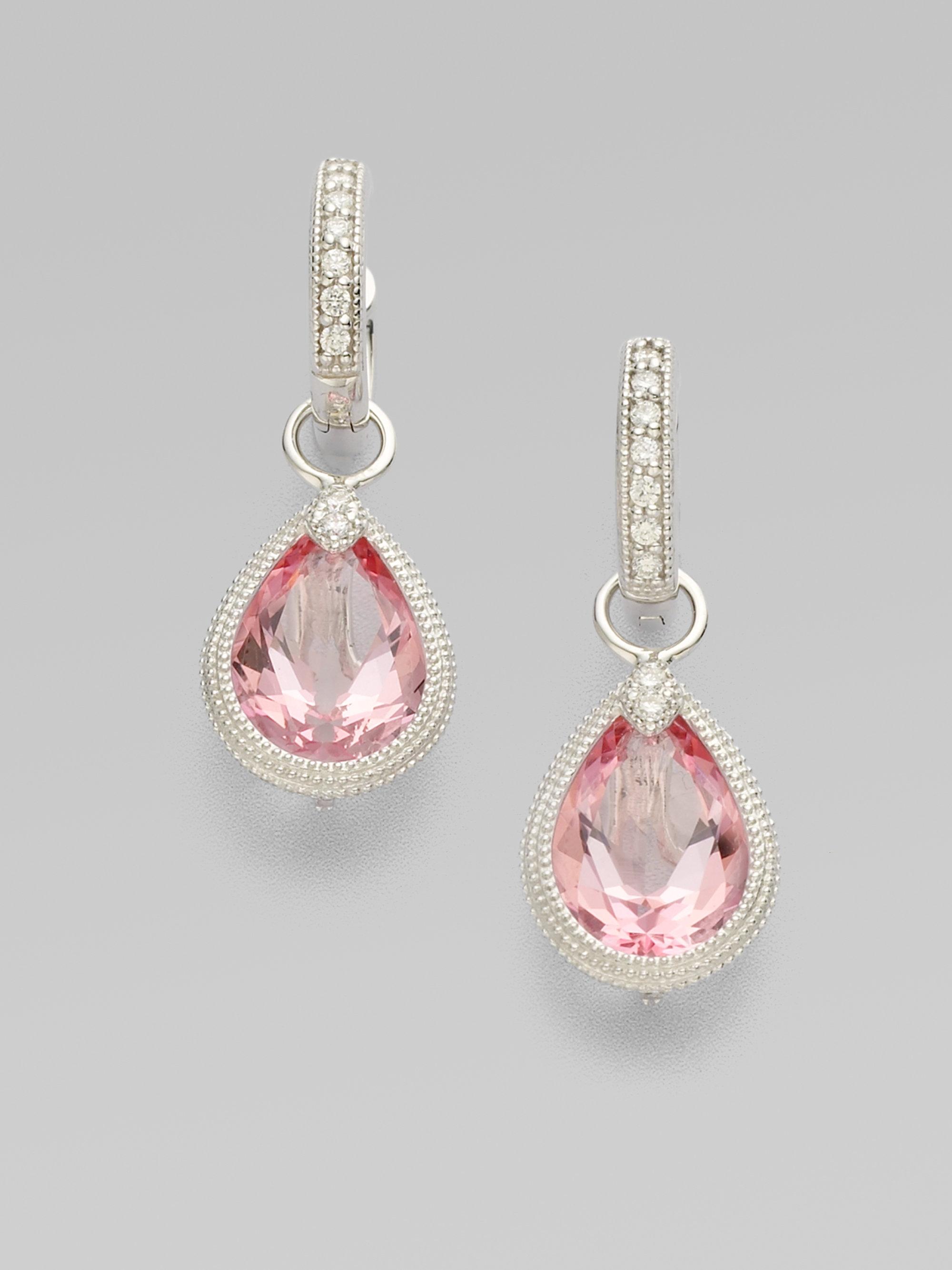 Jude frances Diamond Pink Topaz 18k White Gold Earring