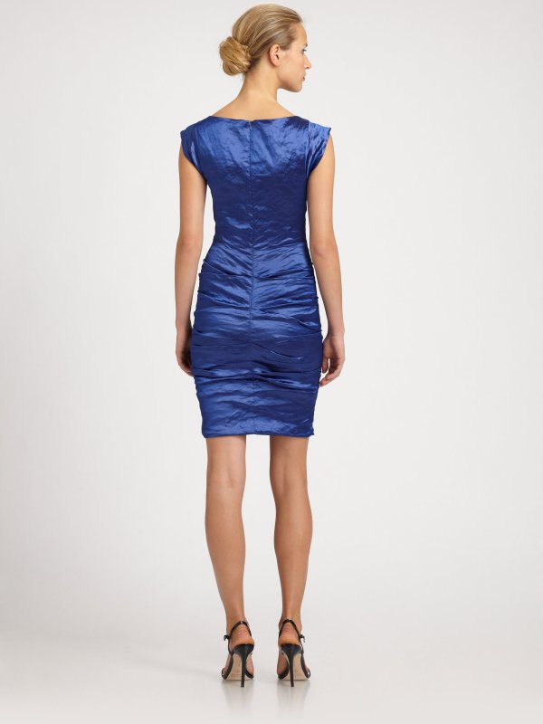 Nicole Miller Ruched Taffeta Dress In Blue - Lyst