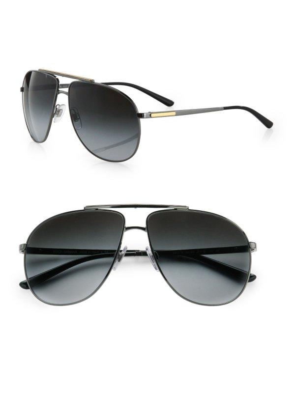 Lyst - Dolce & Gabbana Metal Aviator Sunglasses In Black