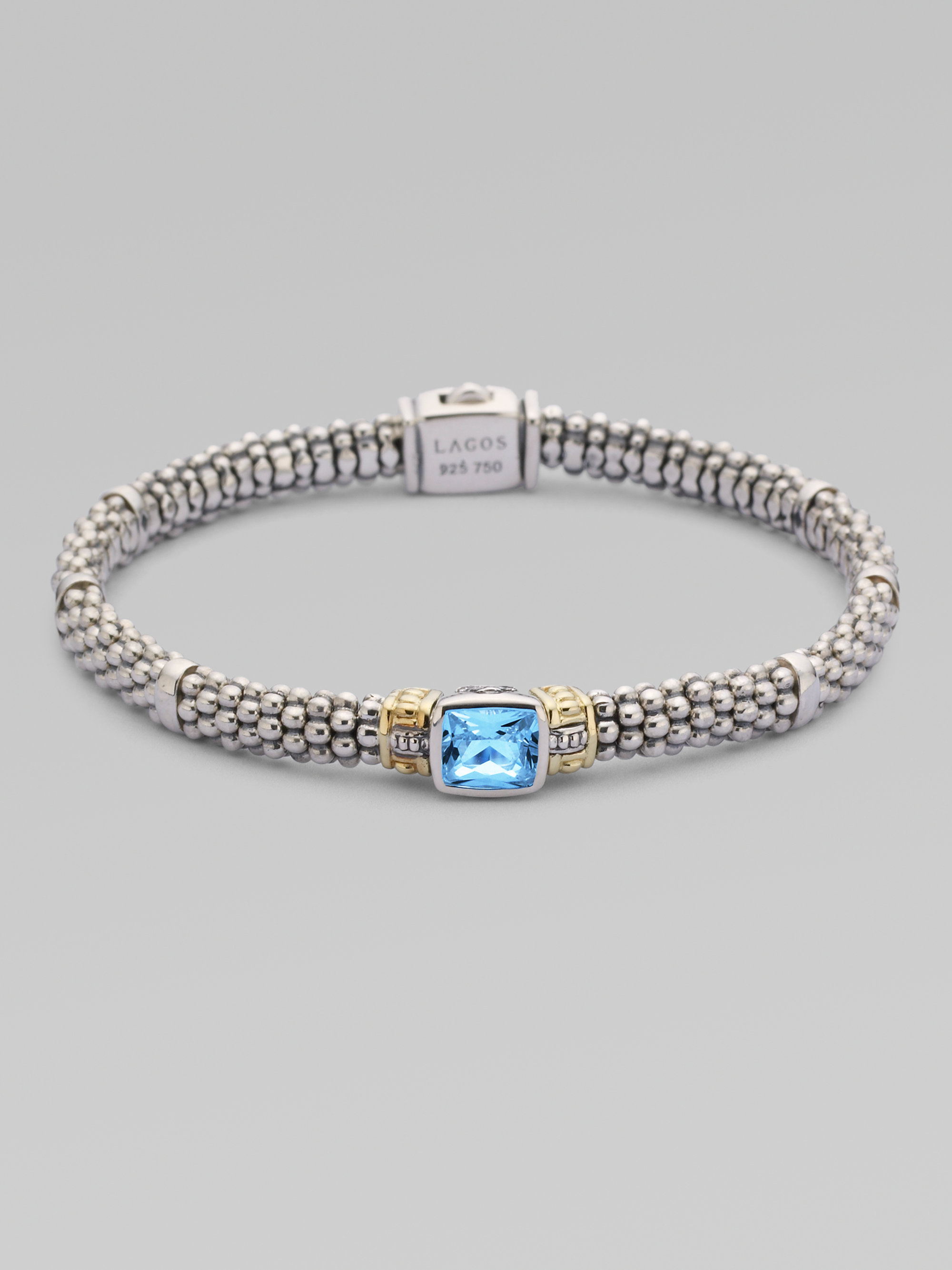 Lyst Lagos Blue Topaz Sterling Silver 18k Yellow Gold