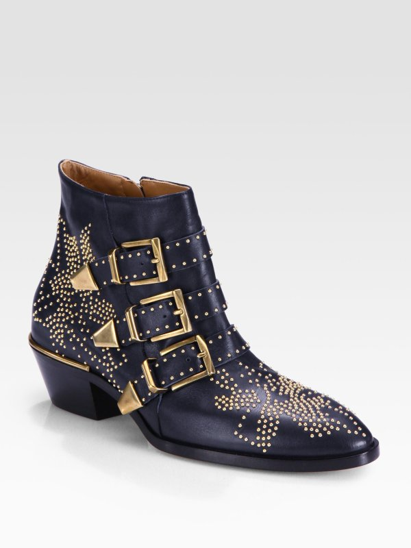 Chlo Studded Leather Buckle Ankle Boots In Blue Lyst