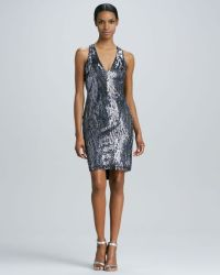 Naeem Khan Lowback Beaded Cocktail Dress in Silver (pewter