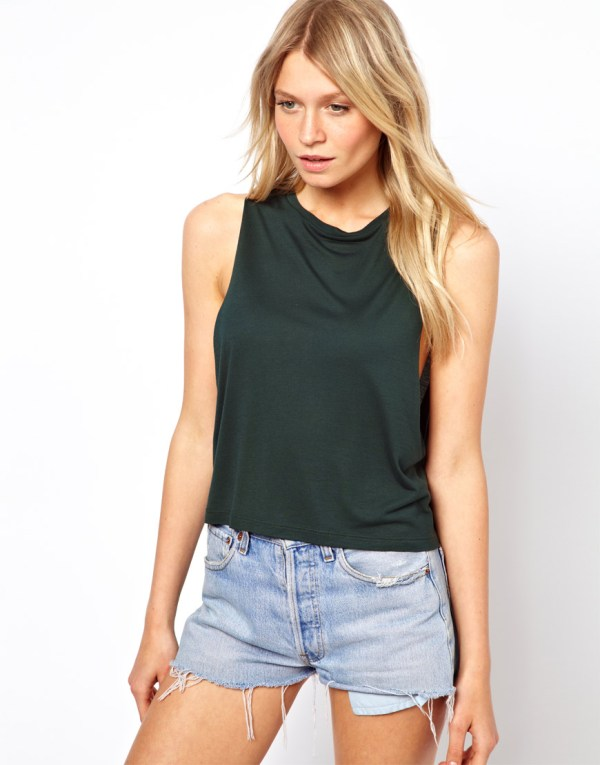 Asos Cropped Tank Top With High Neck In Black Lyst