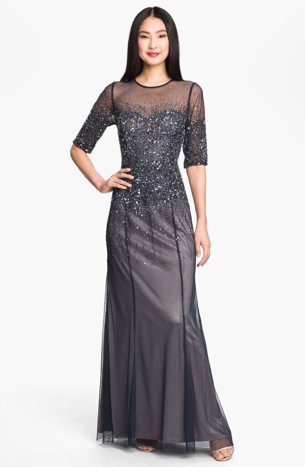 Adrianna Papell Beaded Illusion Dress