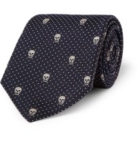 Alexander Mcqueen Skull embroidered Silk Tie in Black for ...