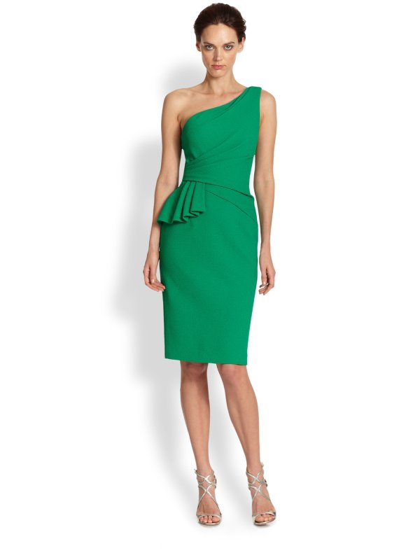 David Meister Stretch Crepe Oneshoulder Dress In Green Lyst