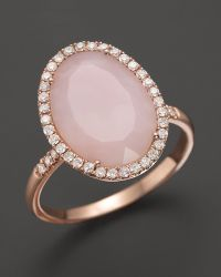 Meira T Pink Opal Rose Gold and Diamonds Ring in Metallic ...