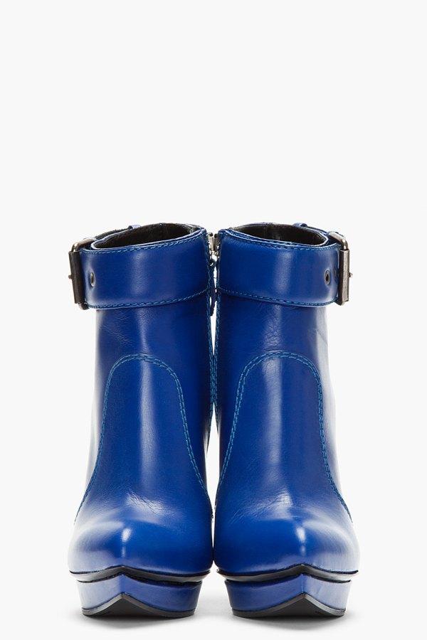 Mcq Blue Leather Slim Wedge Biker Boots - Lyst