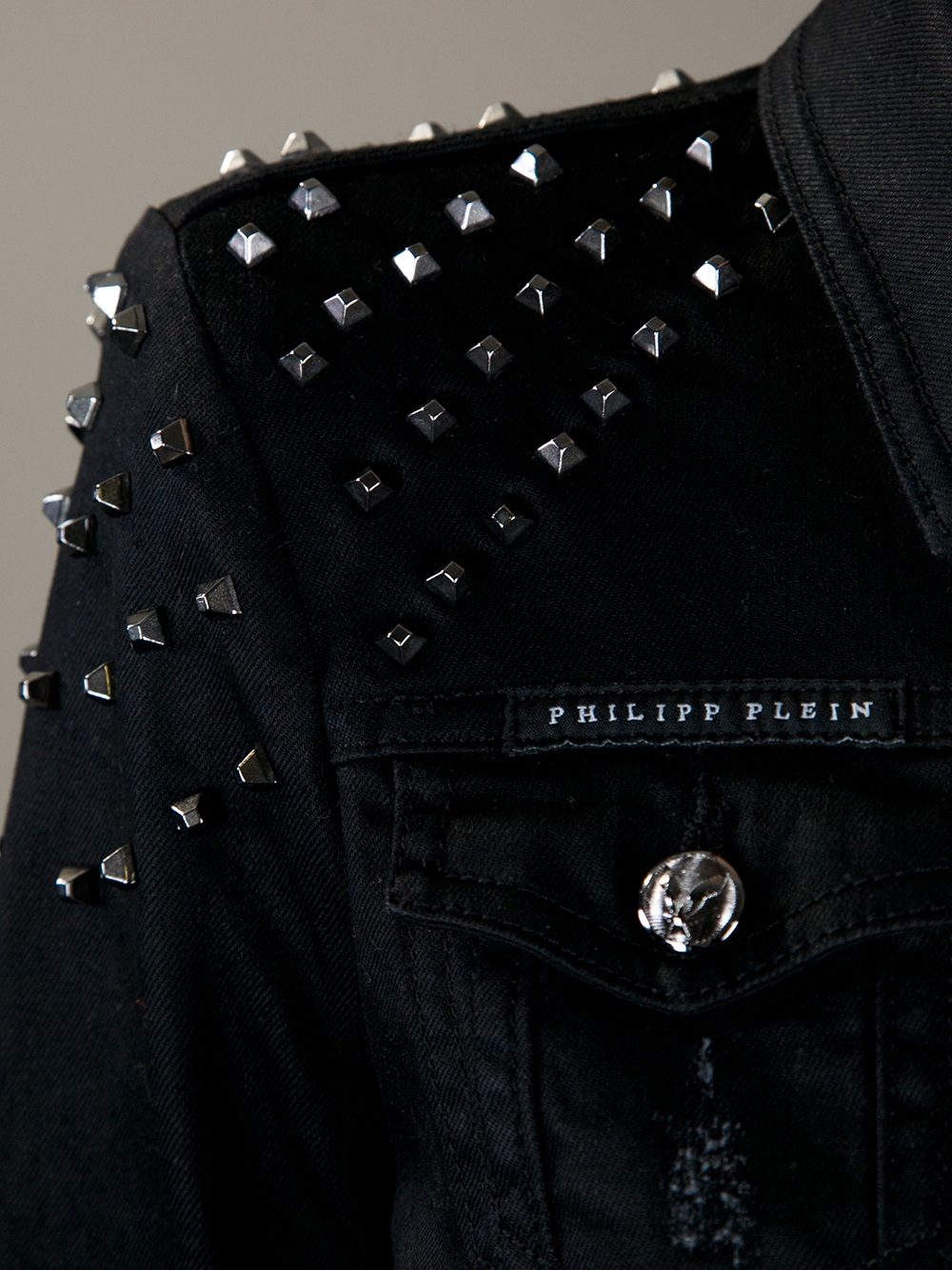 Lyst  Philipp Plein Studded Denim Jacket in Black