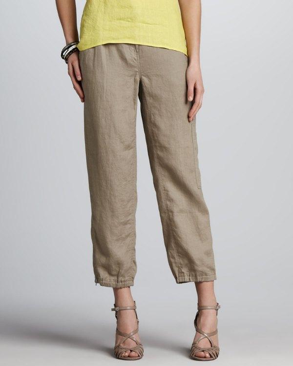 Lyst - Eileen Fisher Linen Ankle Cargo Pants Driftwood In