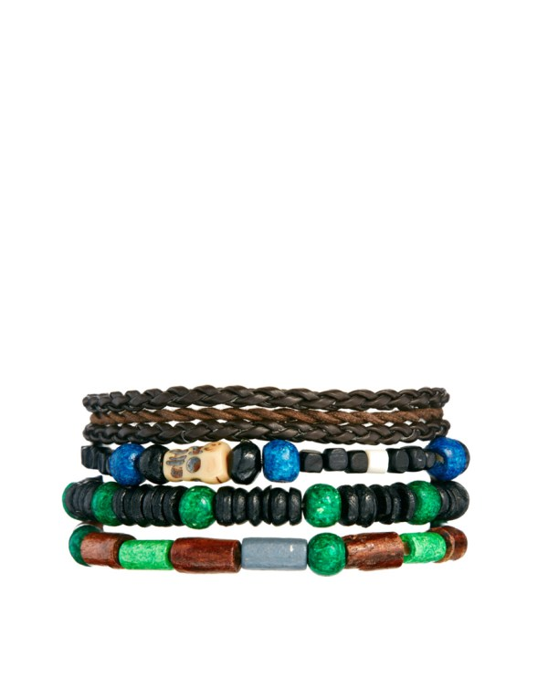 Lyst Asos Bracelet Pack with Wooden Skulls in Brown for Men